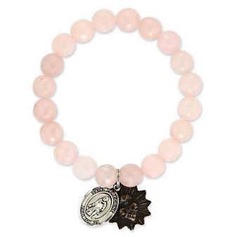 Miracle Icons Pink Quartz St. Peregrine Bracelet