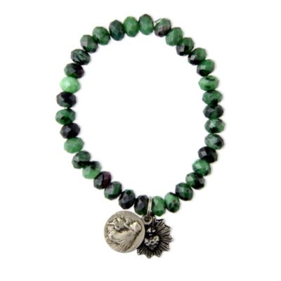Miracle Icons Ruby Ziosite Rondelle Bracelet