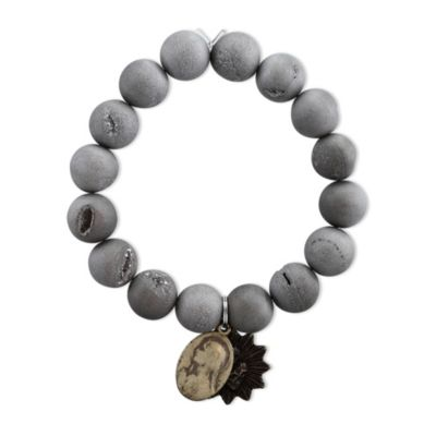 Miracle Icons Silver Druzy Agate Bracelet