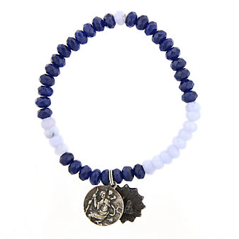 Miracle Icons Blue Jade and Lace Agate Bracelet