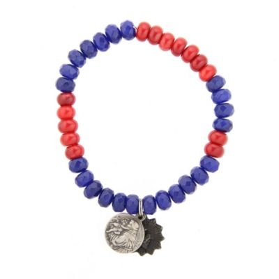 Miracle Icons Blue Jade and Red Coral Bracelet