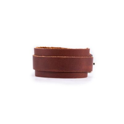 RUSTICO BUCKLE LEATHER WRISTBAND - SADDLE