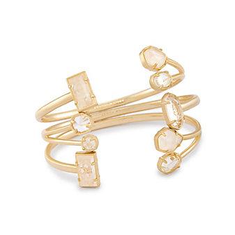 kendra scott cammy clear rock crystal yellow tone bracelet set