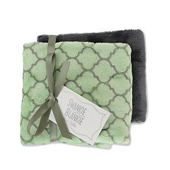 Swankie Blankie Sage Lattice & Charcoal Burp Cloth Set