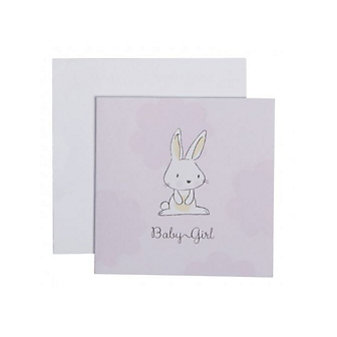 C.R. GIBSON BABY GIRL BUNNY ENCLOSURE CARD