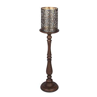 "GG Collection Medallion Pillar Candleholders 42"""