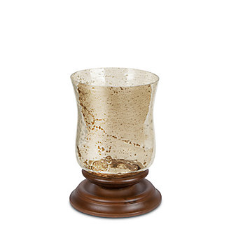 gg collection wood and foil glass candleholder 12.75X9