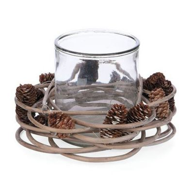 willow and glass round candleholder