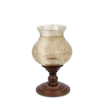 """gg collection wooden candle holder with foil glass 17X10"""""""