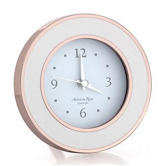 addison ross rose gold & white enamel alarm clock