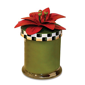 The Round Top Collection Poinsettia Candle