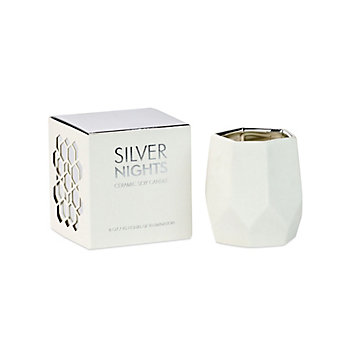 D.L. & Co Silver Nights Small Ceramic White Candle