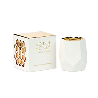 D.L. & Co Golden Honey Small Ceramic White Candle