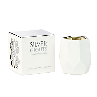 D.L & Co. Large 14 Oz. Silver Nights White Ceramic Candle