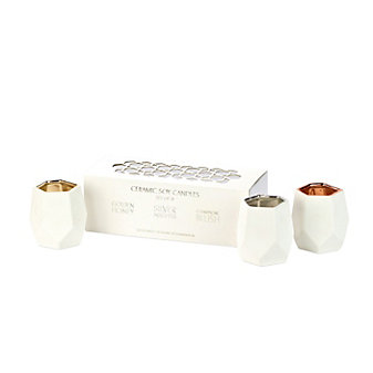 D.L. & Co. Set of Three Abstract Votives - Golden Honey, Silver Nights, & Champagne Blush
