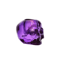 "Kosta_Boda_Still_Life_Skull_Purple_Votive,_H:_3_3/8""_W:_4_1/2""_"