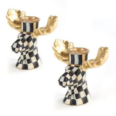 Mackenzie Childs Courtly Check Moose Candlesticks set of 2