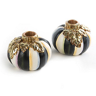 mackenzie-childs courtly stripe pumpkin candlesticks, set of 2
