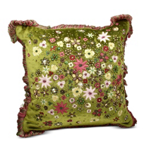 "Jay_Strongwater_Rose_Celadon_Mille_Fiori_Pillow,_14""_wide,_14""_tall"