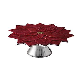 "Julia Knight Poinsettia Pomegranate Cake Stand, 13"""