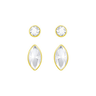 Swarovski Harley Round & Navette Crystal Stud Earrings Set
