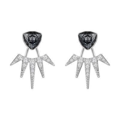 Swarovski Fantastic Dark Grey & Clear Starburst Stud Earring Jackets