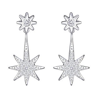 Swarovski Fizzy Two-in-One Clear Crystal Pave Starburst Earring Jackets
