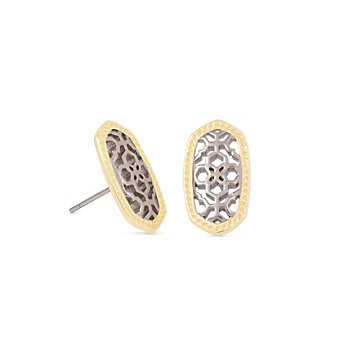Kendra Scott Ellie Bryant Gold and Rhodium Filigree Mix Earrings