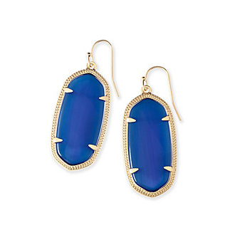 kendra scott elle earrings in navy cat's eye