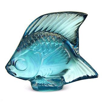 Lalique Turquoise Luster Fish Sculpture