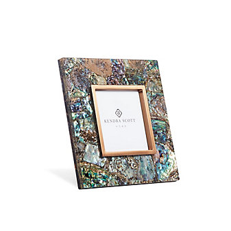 "kendra scott 4"" x 4"" photo frame in crackle abalone shell"