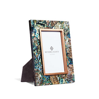 "kendra scott 4"" x 6"" photo frame in crackle abalone shell"