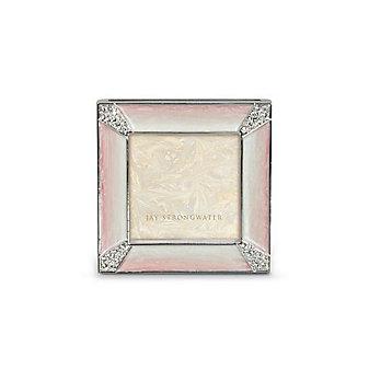"Jay Strongwater Leland Pave Corner 2"" Square Frame -  Pale Pink"