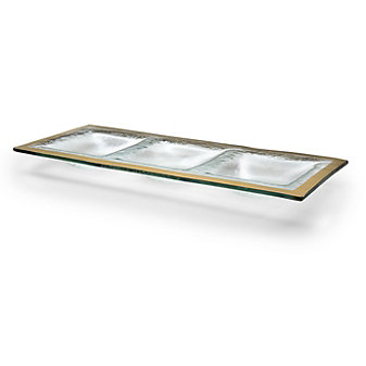 Annieglass Roman Antique Three Section Tray