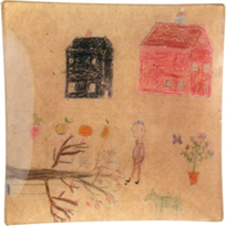 "John_Derian_Naive_Drawing_8""_Square_Tray"
