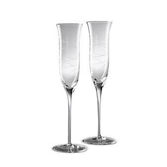 Nambe Motus Champagne Flutes Pair