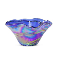 "Glass_Eye_Studio_Blue_Rainbow_Twist_Floppy_Bowl,_9""_diameter"