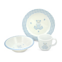 Reed_&_Barton_Gingham_Bear_3_Piece_Dinner_Set