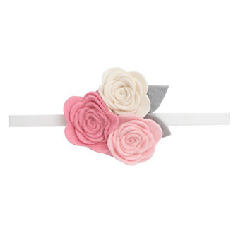 Elegant Baby White Headband with Three Rose Topper