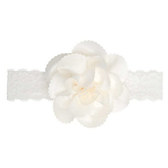 Elegant Baby White Lace Headband with White Flower Topper