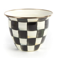 "MacKenzie_Childs_Courtly_Check_Enamel_Large_Flower_Pot,_6.5""_diameter,_5""_tall"
