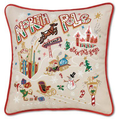 Catstudio Hand-Embroidered North Pole Pillow