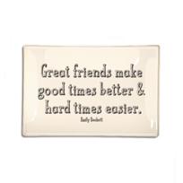 """Ben's_Garden_Good_Friends_Make_Good_Times_6""""_x_6""""_Decoupage_Glass_Tray"""