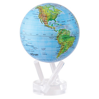 """Mova Blue With Relief High Gloss Globe, 4.5"""""""