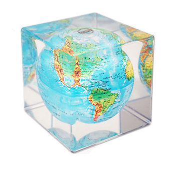 Mova Cube, Blue With Relief Map