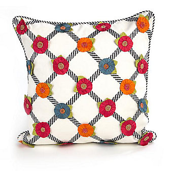 MacKenzie-Childs Tic-Tac-Posie Square Pillow