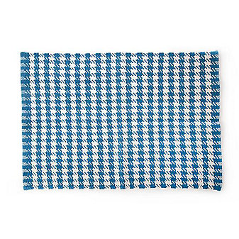 MacKenzie-Childs Oxford Blue Houndstooth Scatter Rug - 2' x 3'