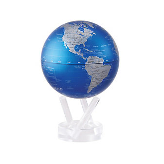 "mova cobalt blue and silver 6"" globe with base"