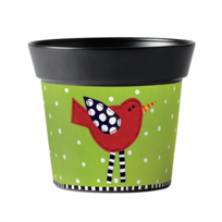 "Studio_M_Frolic_Red_Bird_6""_Art_Pot_"