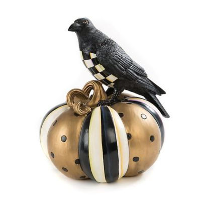 mackenzie-childs courtly check crow on pumpkin